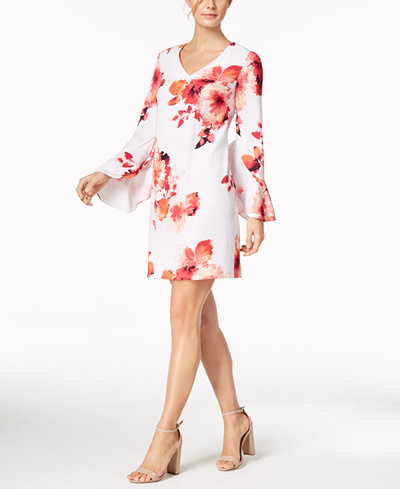 Calvin Klein Bell-Sleeve Printed Dress, Regular & Petite
