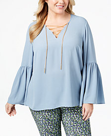 MICHAEL Michael Kors Plus Size Bell-Sleeve Top