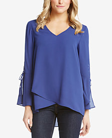 Karen Kane Layered-Hem Bell-Sleeve Top