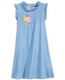 GUESS Embroidered Cotton Denim Dress, Big Girls