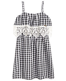GUESS Big Girls Crochet-Trim Gingham Dress