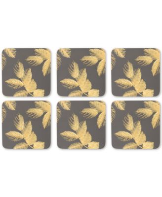 Etched Leaves Set of 6 Dark Gray Coasters