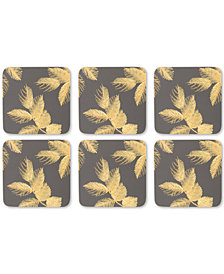 Pimpernel Etched Leaves Set of 6 Dark Gray Coasters