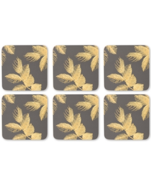 Pimpernel Etched Leaves Set of 6 Dark Gray Coasters