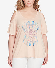 Jessica Simpson Trendy Plus Size Cold-Shoulder Printed T-Shirt