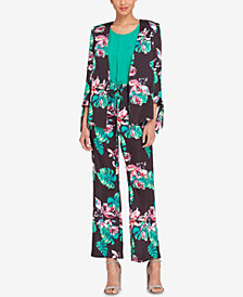 Tahari ASL Palm-Print Tie-Sleeve Jacket & Drawstring Soft Pants, Regular & Petite