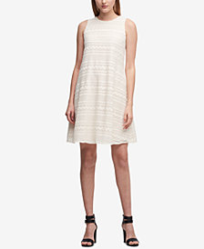 DKNY Embroidered Chiffon Shift Dress, Created for Macy's