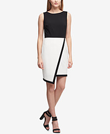 DKNY Asymmetric Colorblocked Scuba Sheath Dress, Created for Macy's