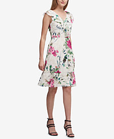 DKNY Floral-Print Ruffled Fit & Flare Dress, Created for Macy's