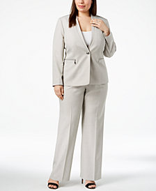 Tahari ASL Plus Size One-Button Pantsuit