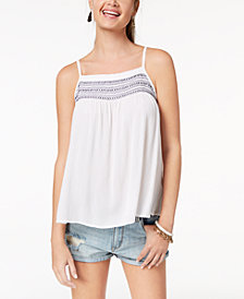 Ultra Flirt by Ikeddi Juniors' Embroidered Smocked Tank Top