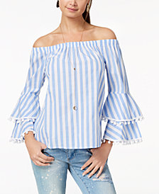 Ultra Flirt by Ikeddi Juniors' Striped Off-The-Shoulder Top
