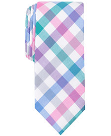 Bar III Men's Bold Color Gingham Skinny Tie, Created for Macy's