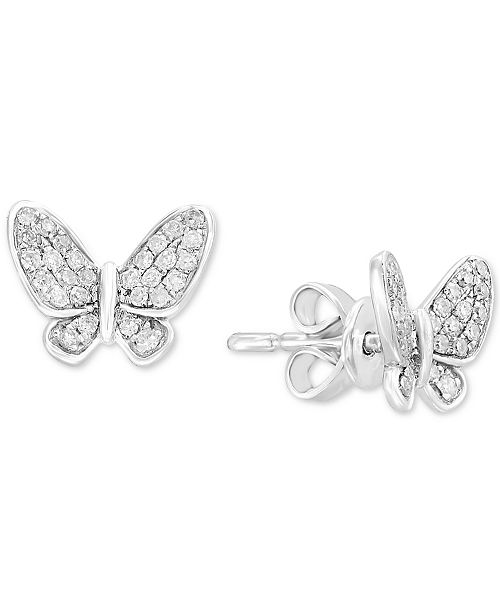 Effy Collection Children S Diamond Erfly Stud Earrings 1 6 Ct T W In 14k White Gold Jewelry Watches Macy