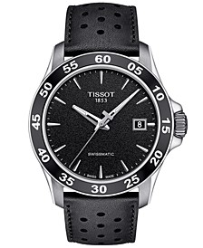 Men's Swiss Automatic T-Sport V8 Black Leather Strap Watch 42.5mm