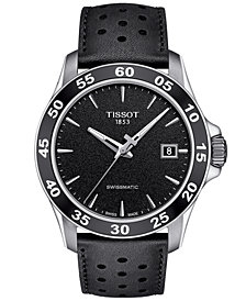 Tissot Men's Swiss Automatic T-Sport V8 Black Leather Strap Watch 42.5mm