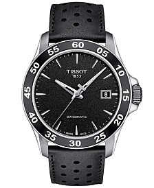 Tissot Men's Swiss Automatic T-Sport V8 Black Leather Strap Watch 42.5mm