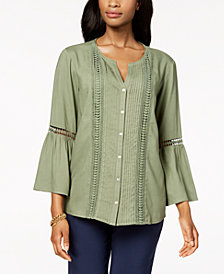 JM Collection Pleated Crochet-Trim Blouse, Created for Macy's