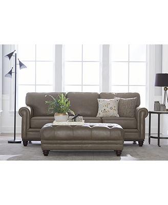 "martha stewart collection bradyn 89"" leather sofa, created for"