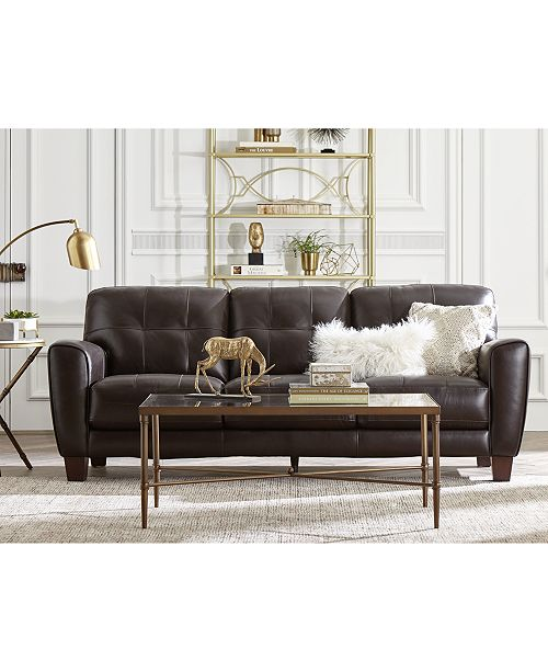 Kaleb 84 Tufted Leather Sofa, Created for Macy\'s