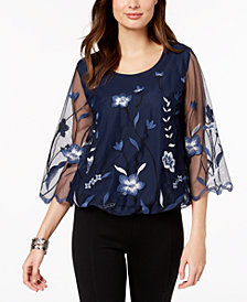 Alfani Petite Embroidered Bubble Top, Created for Macy's