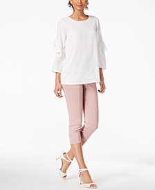 Alfani Ruffled-Sleeve Top & Tummy-Control Capri Pants, Created for Macy's