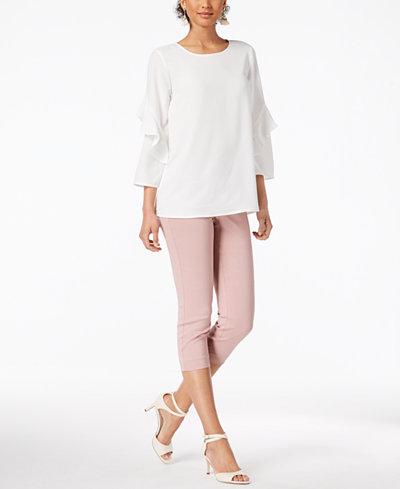 Alfani Ruffled-Sleeve Top & Tummy-Control Capri Pants, Created for Macy's