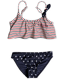 Roxy 2-Pc. Flutter-Top Bikini Swimsuit, Little Girls