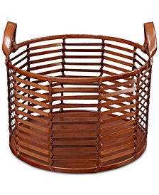 Madison Park Signature Newport Leather Stripe Basket Small