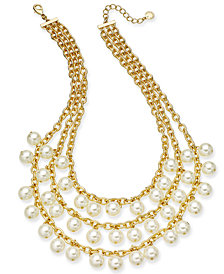 "Charter Club Gold-Tone Imitation Pearl Triple-Row Statement Necklace, 17"" + 2"" extender, Created for Macy's"