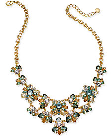 "Charter Club Gold-Tone Multi-Stone Statement Necklace, 17"" + 2"" extender, Created for Macy's"