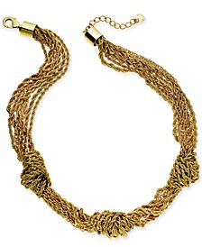 """Gold-Tone Multi-Chain Knotted Collar Necklace, 17"""" + 2"""" extender, Created for Macy's"""