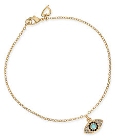 Thalia Sodi Gold-Tone Crystal & Stone Evil Eye Ankle Bracelet, Created for Macy's