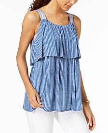 Style & Co Striped Flounce Top, Created for Macy's