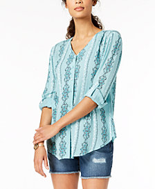 Style & Co Petite V-Neck Printed Button-Down Top, Created for Macy's