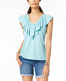 Style & Co V-Neck Ruffled Top, Created for Macy's