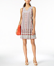 Style & Co Printed V-Neck Flounce Dress, Created for Macy's