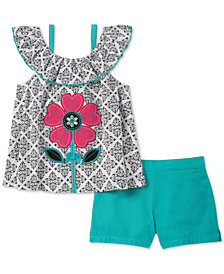 Kids Headquarters Baby Girls 2-Pc. Flower Printed Top & Shorts Set
