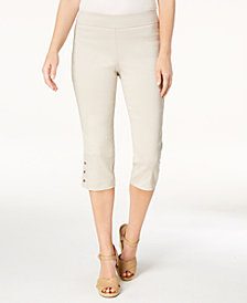 JM Collection Petite Embellished-Hem Capri Pants, Created for Macy's