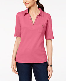 Karen Scott Cotton Studded-Collar Polo Shirt, Created for Macy's