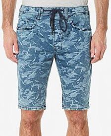 Buffalo David Bitton Men's Leaf-Print Parker-X Denim Shorts