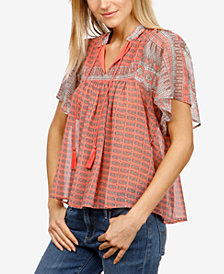 Lucky Brand Flutter-Sleeve Peasant Top