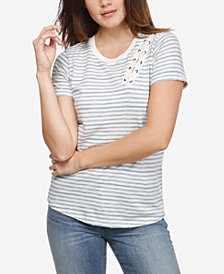 Lucky Brand Striped Lace-Up T-Shirt
