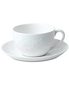 Wild Strawberry White Teacup & Saucer Set