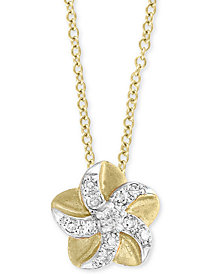 "EFFY Kidz® Children's Diamond Accent Flower 14"" Pendant Necklace in 14k Yellow Gold"