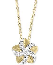 "EFFY Kidz® Children's Diamond Accent Flower 14"" Pendant Necklace in 14k Yellow Gold"