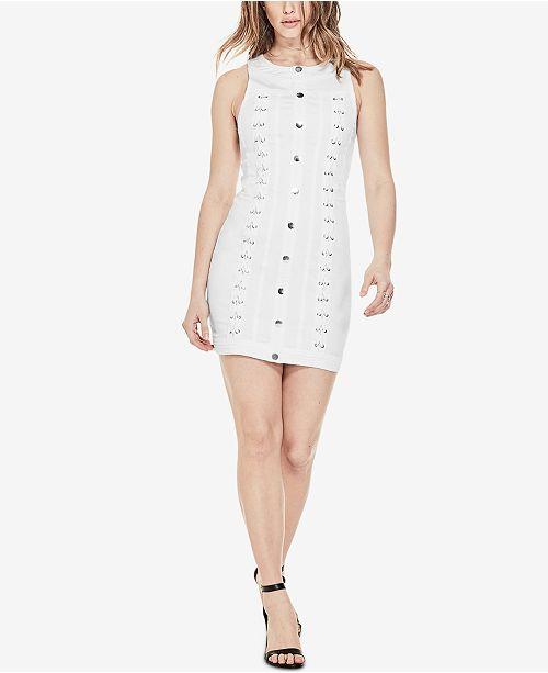 d1a0d2f283a GUESS Lace-Up Denim Dress   Reviews - Dresses - Juniors - Macy s