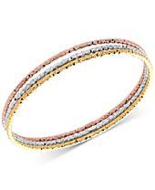 3-Pc. Set Tri-Color Bangle Bracelets in 14k Gold, White Gold & Rose Gold