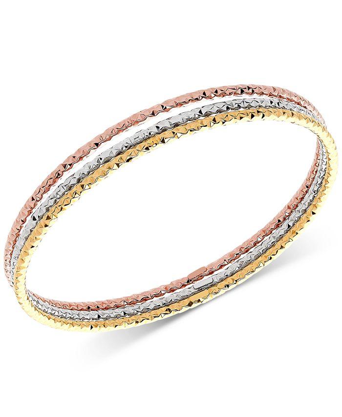 Italian Gold - 3-Pc. Set Tri-Color Bangle Bracelets in 14k Gold, White Gold & Rose Gold