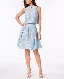 julia jordan Damask Mesh 2-Pc. Dress